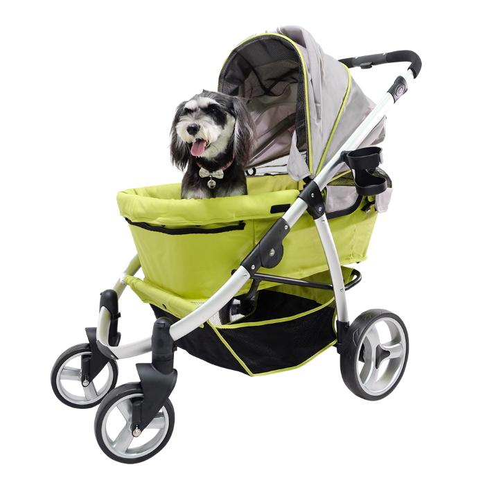 Ibiyaya Collapsible Retro Dog Stroller Green