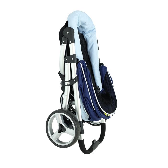 Ibiyaya Collapsible Retro Dog Stroller Navy Blue Folded