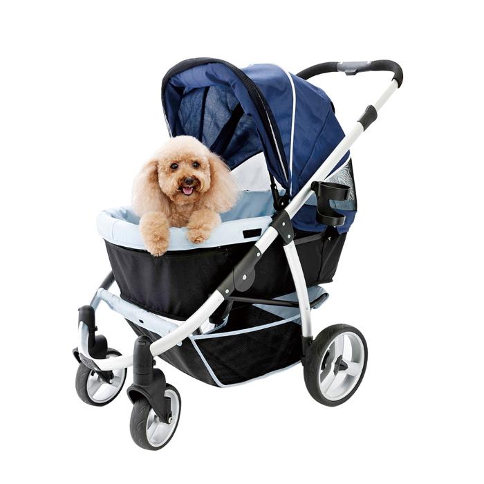 Ibiyaya Collapsible Retro Dog Stroller Navy Blue