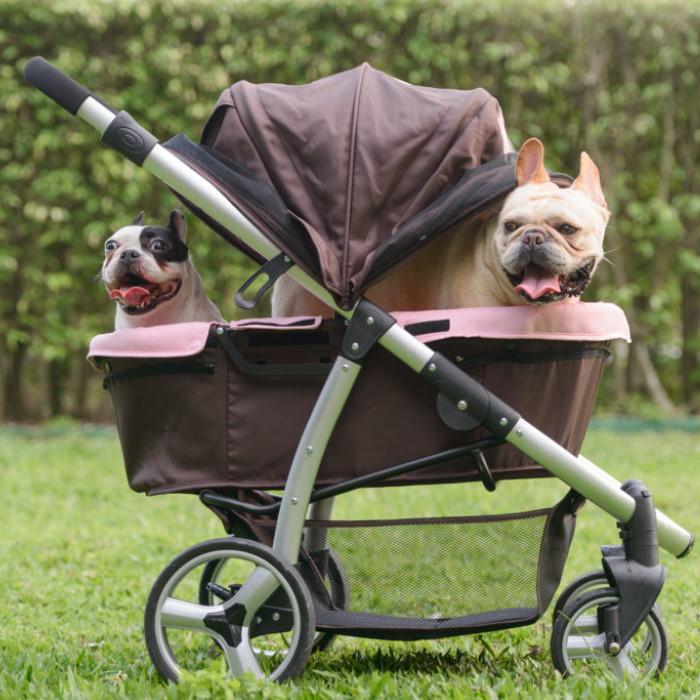 Ibiyaya Collapsible Retro Dog Stroller Pink & Brown 2 dogs