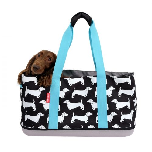 Ibiyaya Sausage Dog Pet Carrier Tote Black_Dachshunds