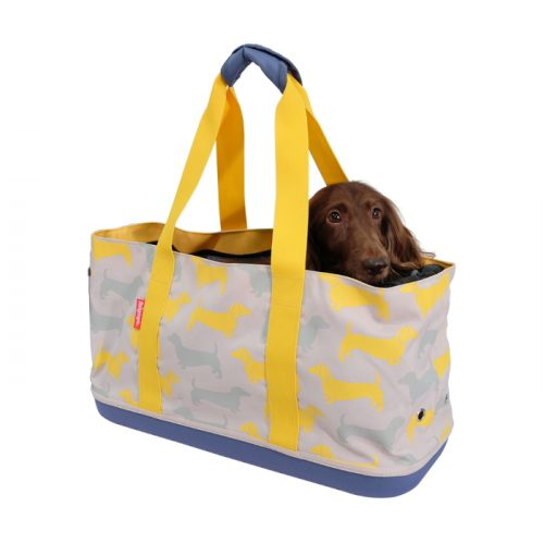 Ibiyaya Sausage Dog Pet Carrier Tote Yellow_Grey_Dachshunds