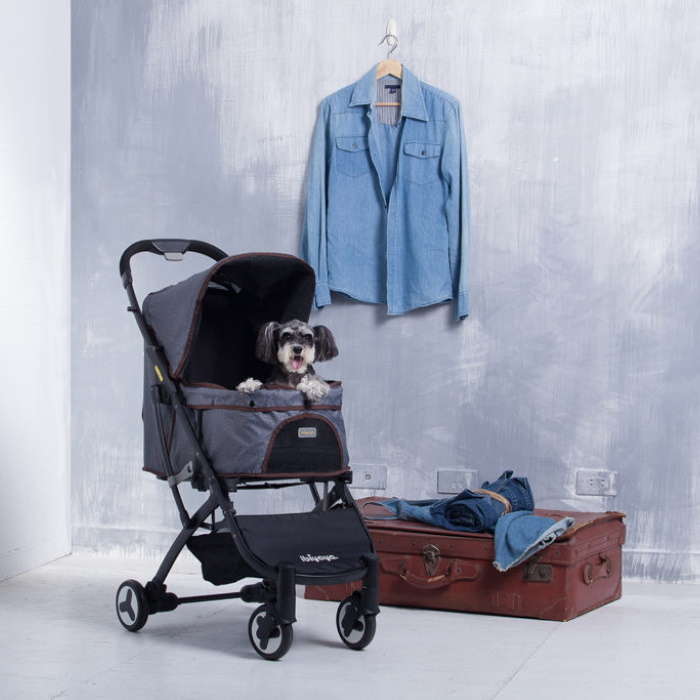 Ibiyaya Speedy Fold Compact Pet Buggy Grey Denim Lifestyle 1