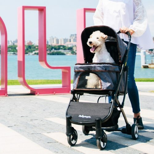 Ibiyaya Speedy Fold Compact Pet Buggy Grey Denim Lifestyle