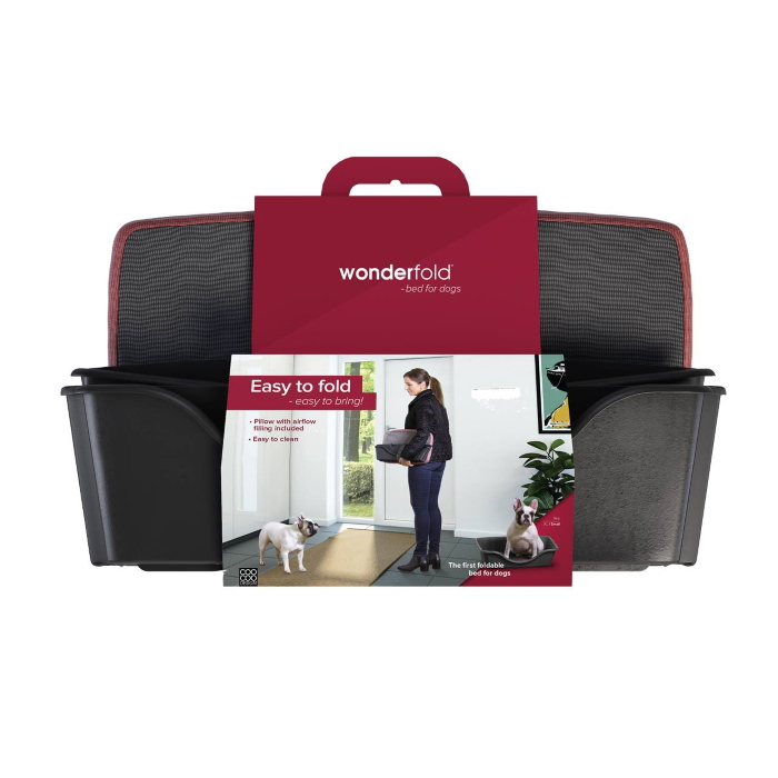 Wonderfold Collapsible Dog Bed with Cushion Dark Grey