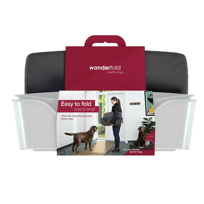 Wonderfold Collapsible Dog Bed with Cushion Light Grey