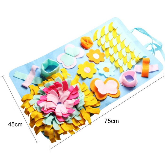 Interactive Pet Snuffle Nosework Mat Blue Flowers Dimensions