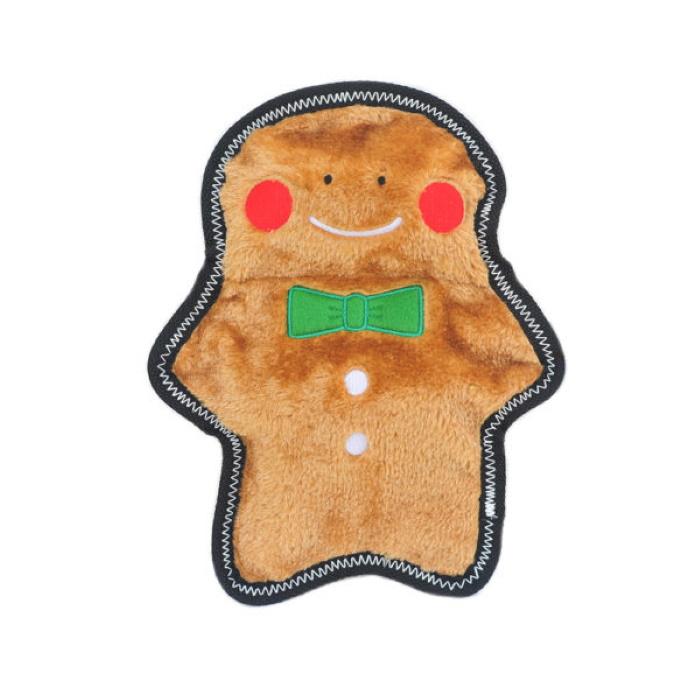 Zippy Paws Z-Stitch Holiday Gingerbread Man Dog Toy