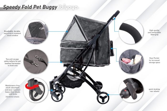 Ibiyaya Speedy Fold Compact Dog Buggy Features 1