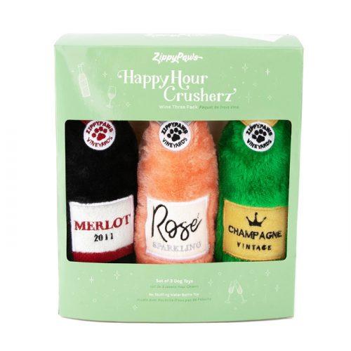 Zippy Paws Happy Hour Wine Crusherz Dog Toy 3 pack