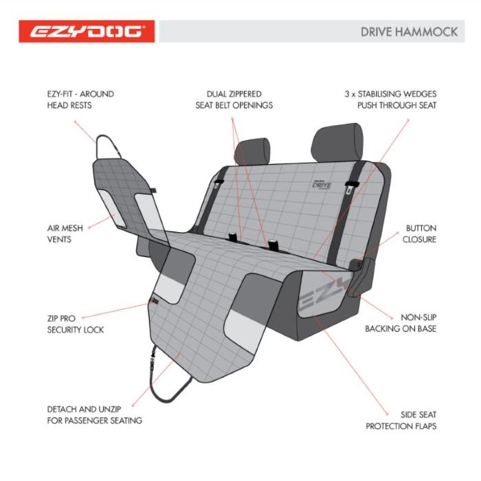 EzyDog_Drive_Hammock_Car Seat Cover_specifications