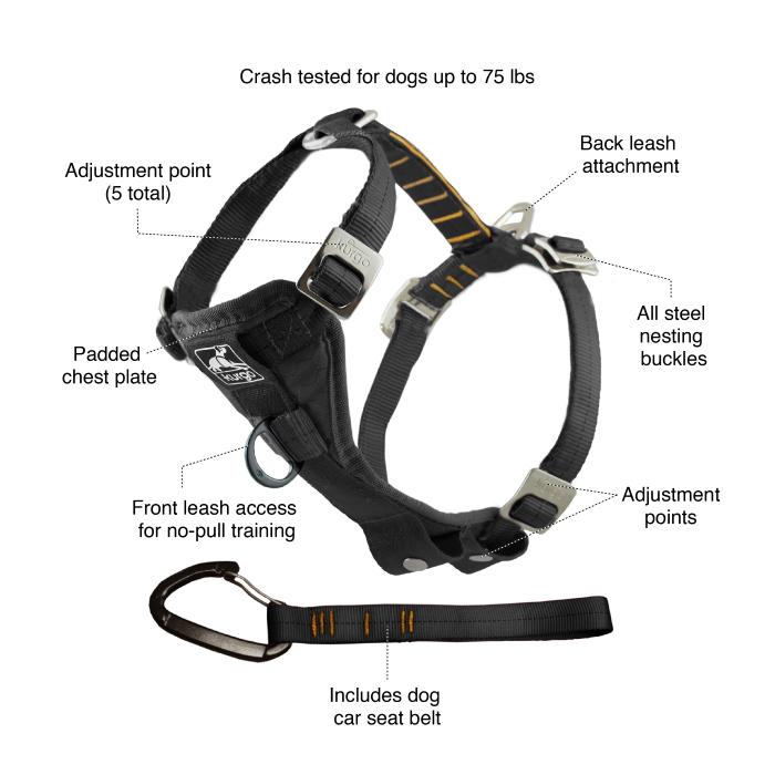 Kurgo Enhanced Strength TFS Dog Car Harness with Restraint Features