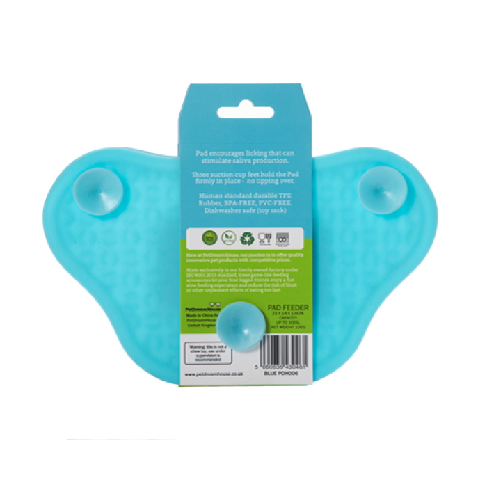 Paw Slow Feeder Lick Pad for dogs Blue back