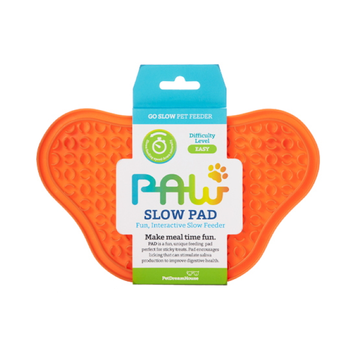 Paw Slow Feeder Lick Pad for dogs Orange