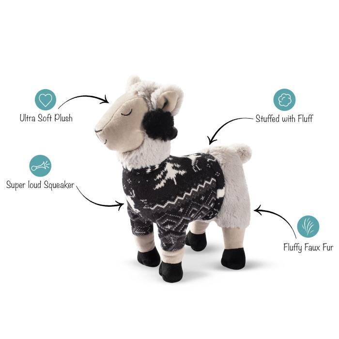 Fringe Studio Christmas Fa La La La Llama Plush Dog Toy Features