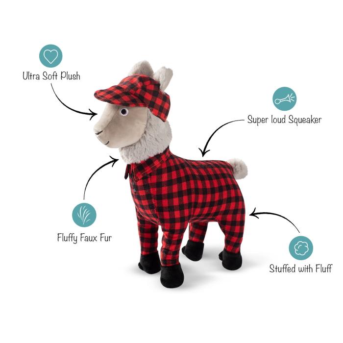 Fringe Studio Christmas Feelin' Festive Pyjama Llama Plush Dog Toy features
