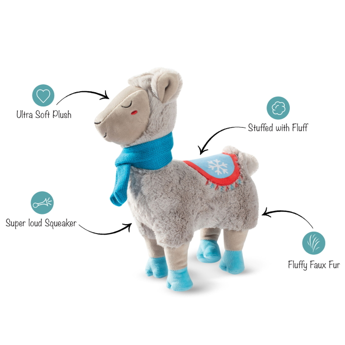 Fringe Studio Christmas Llama with a Scarf Plush Squeaker Dog Toy features