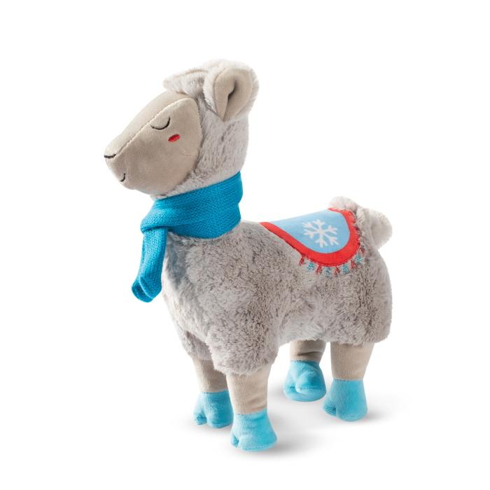 Fringe Studio Christmas Llama with a Scarf Plush Squeaker Dog Toy