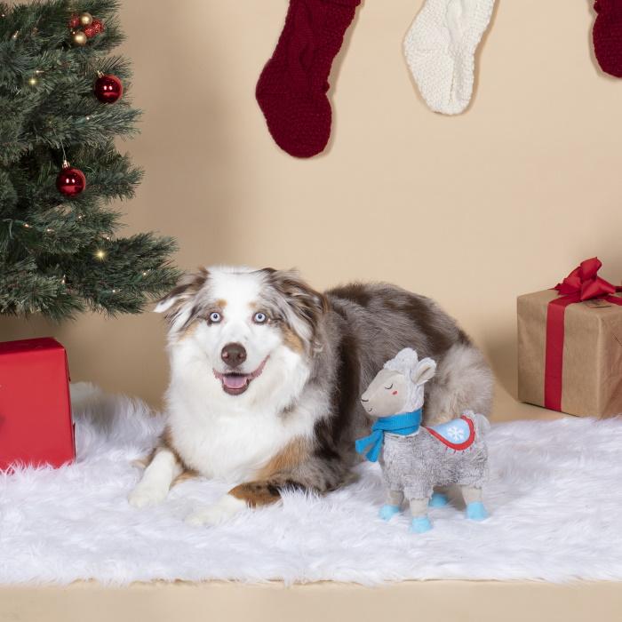 Fringe Studio Christmas Llama with a Scarf Squeaker Dog Toy