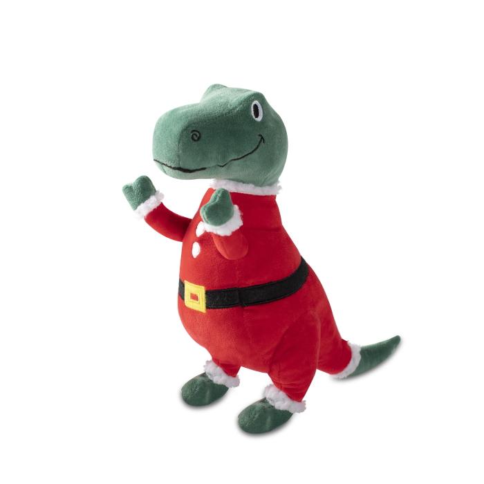 Fringe Studio Christmas Merry Rex-Mas Plush Squeaker Dog Toy