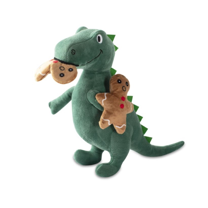 Fringe Studio Christmas Oh Snap! T-Rex and Cookies Plush Squeaker Dog Toy