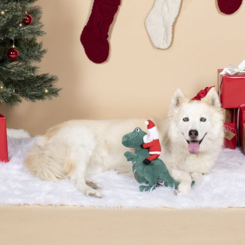 Fringe Studio Christmas Santa-Saurus Rex Plush Dog Toy