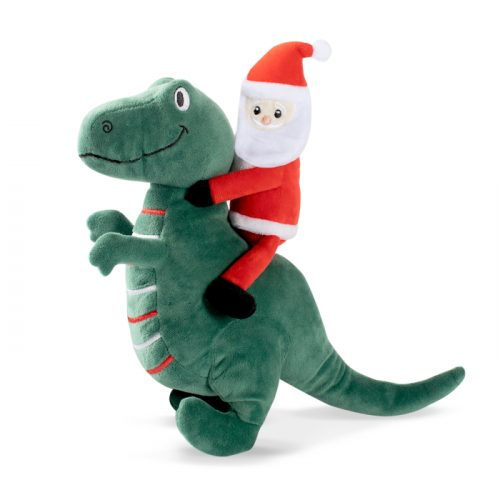 Fringe Studio Christmas Santa-Saurus Rex Plush Squeaker Dog Toy