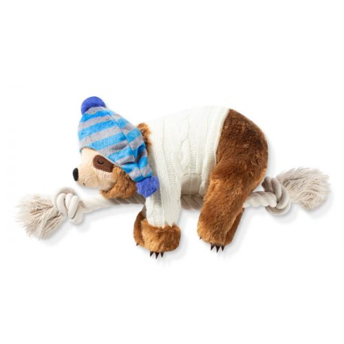 Fringe Studio Christmas Sloth On a Rope Plush Squeaker Dog Toy