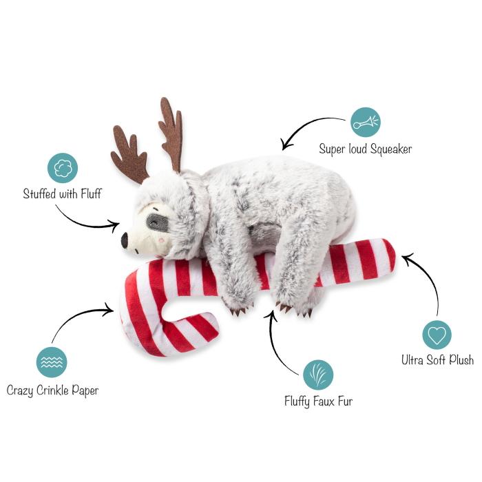 Fringe Studio Christmas Sloth on Candycane Dog Toy Features