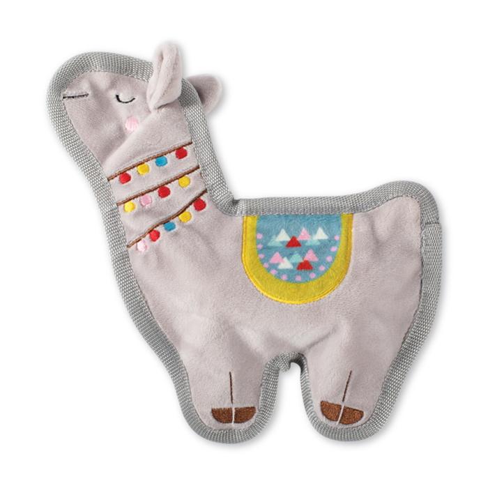 Fringe Studio Llama Love You Flat No Stuffing Squeaker Dog Toy