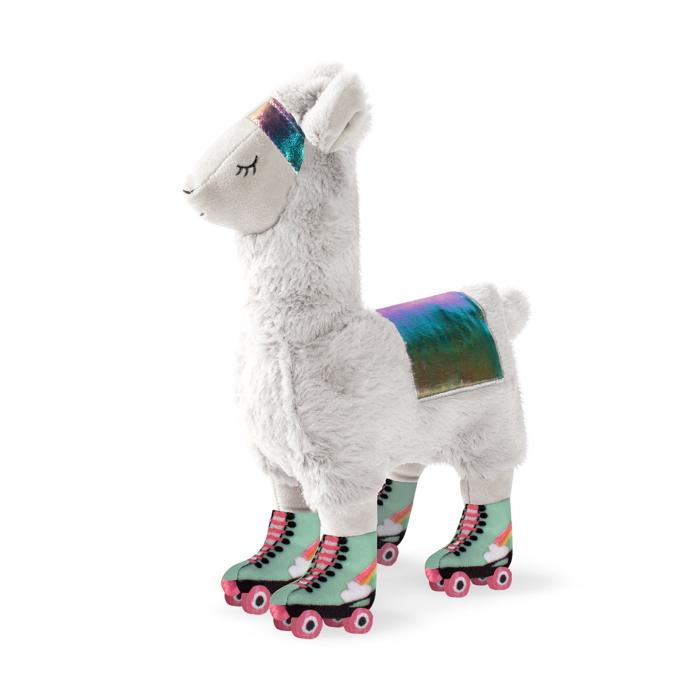 Fringe Studio Llama On Roller Skates Plush Dog Toy