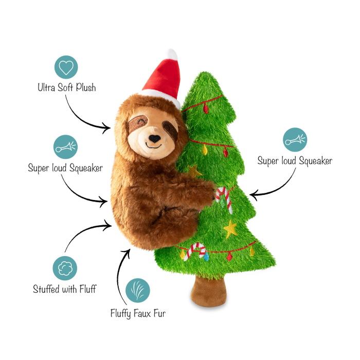 Fringe Studio Merry Sloth-Mas Dog Toy features