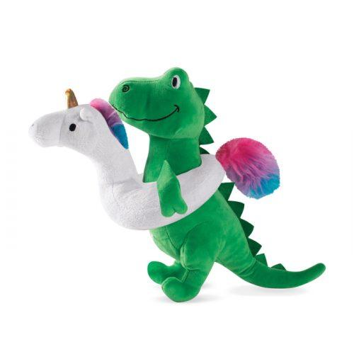 Fringe Studio Pool Time T-Rex with Unicorn Floatie Plush Dog Toy