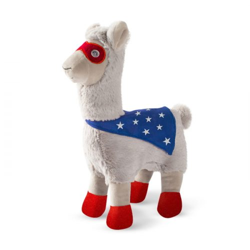 Fringe Studio Super Llama To The Rescue Superhero Plush Squeaker Dog Toy