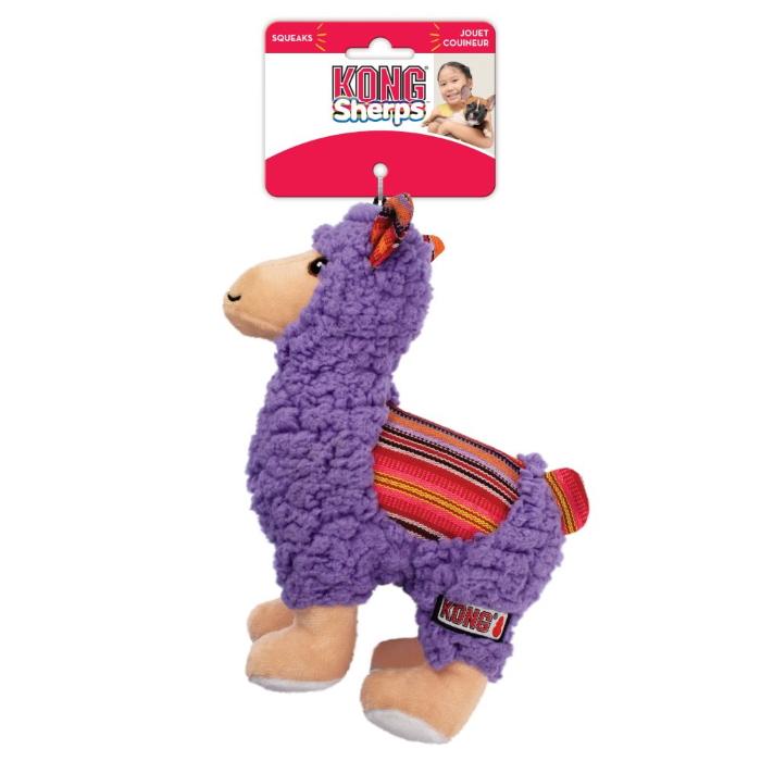 KONG Sherps Plush Dog Toy Llama Tag