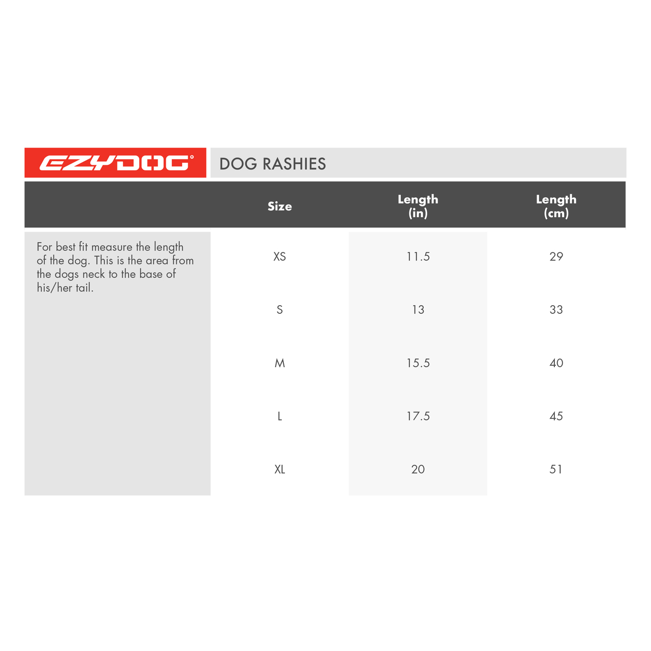 EzyDog Dog Rashie Shirt UV 50+ Sun Protection Size Chart