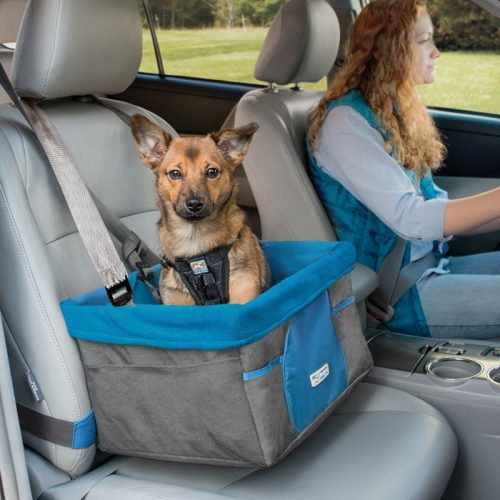 Kurgo Heather Booster seat for dogs_Charcoal_Blue