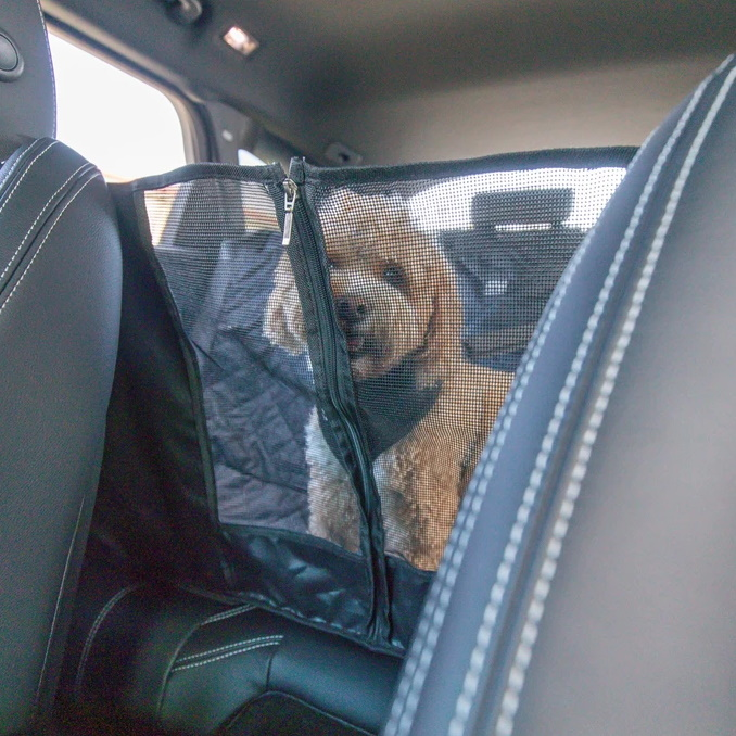 BLD Hammock Car Seat Cover for Dogs_Central zip_mesh window