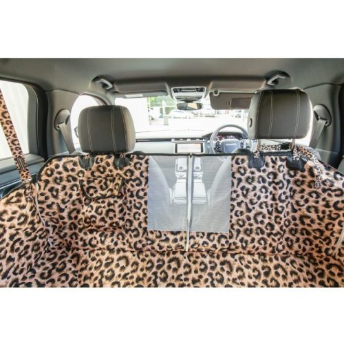 BLD Premium Dog Car Seat Hammock with Mesh Window_Luxurious Leopard
