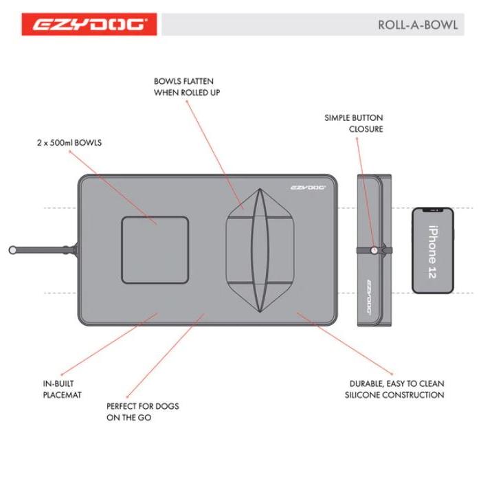 EzyDog Roll A Bowl Portable Travel bowl Features