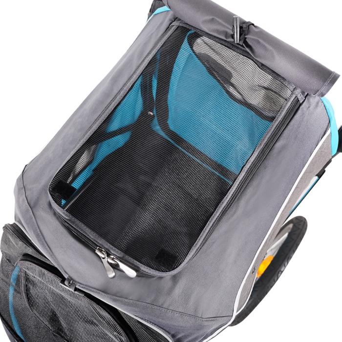 Ibiyaya 2 in 1 bike trailer stroller Blue_mesh windows