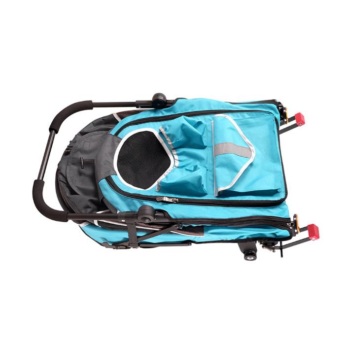 Ibiyaya 2 in 1 bike trailer stroller Blue_folded