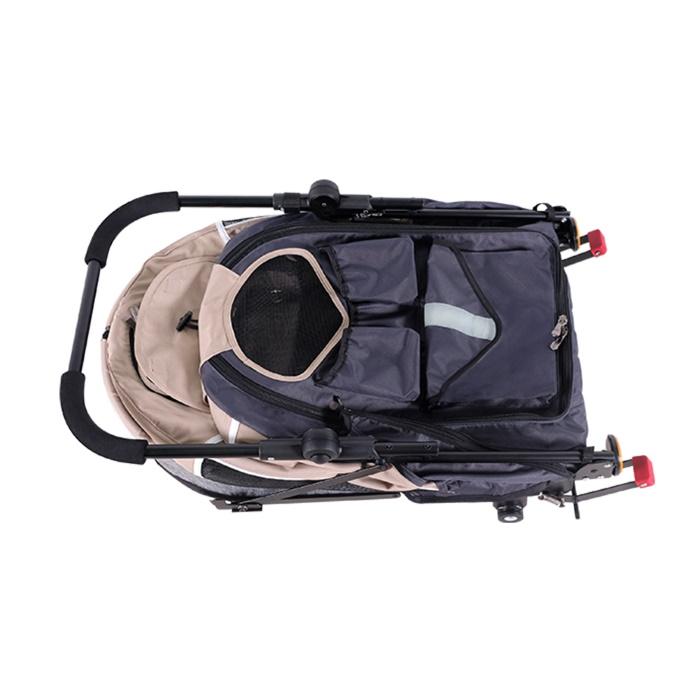Ibiyaya 2 in 1 bike trailer stroller Latte_folded