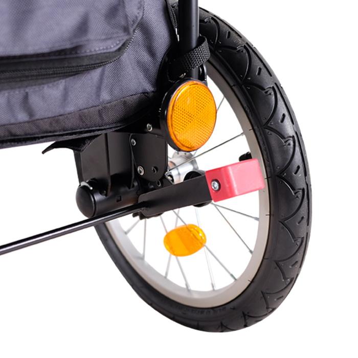Ibiyaya 2 in 1 bike trailer stroller Latte_rear brakes
