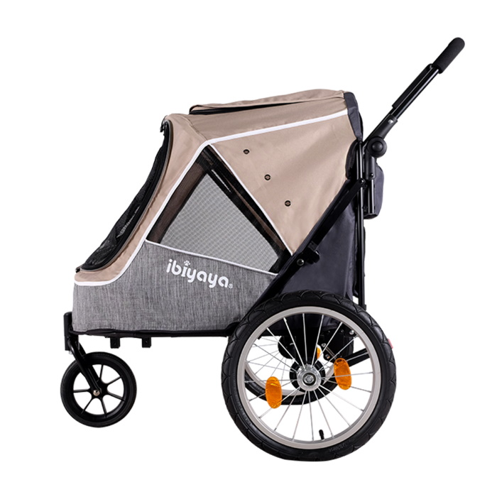 Ibiyaya 2 in 1 bike trailer stroller Latte_side