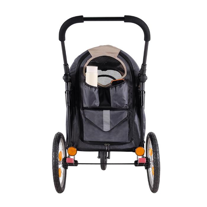 Ibiyaya 2 in 1 bike trailer stroller Latte_storage pockets
