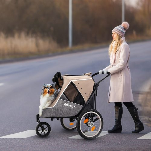 Ibiyaya 2 in 1 bike trailer stroller_Latte_LS