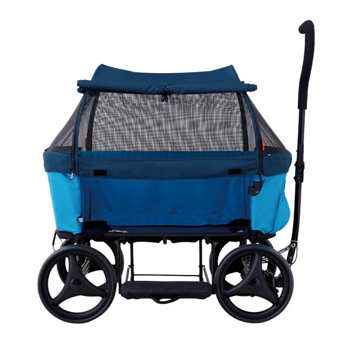 Ibiyaya Noah All Round Pet Beach Wagon_Blue_Side Canopy open