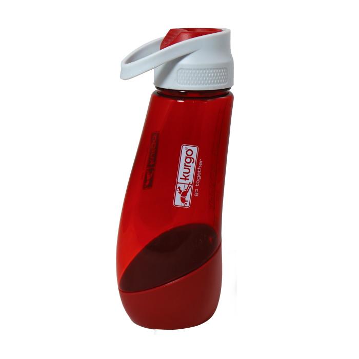 Kurgo Gourd Dog Travel Water Bottle and Bowl_Barn Red