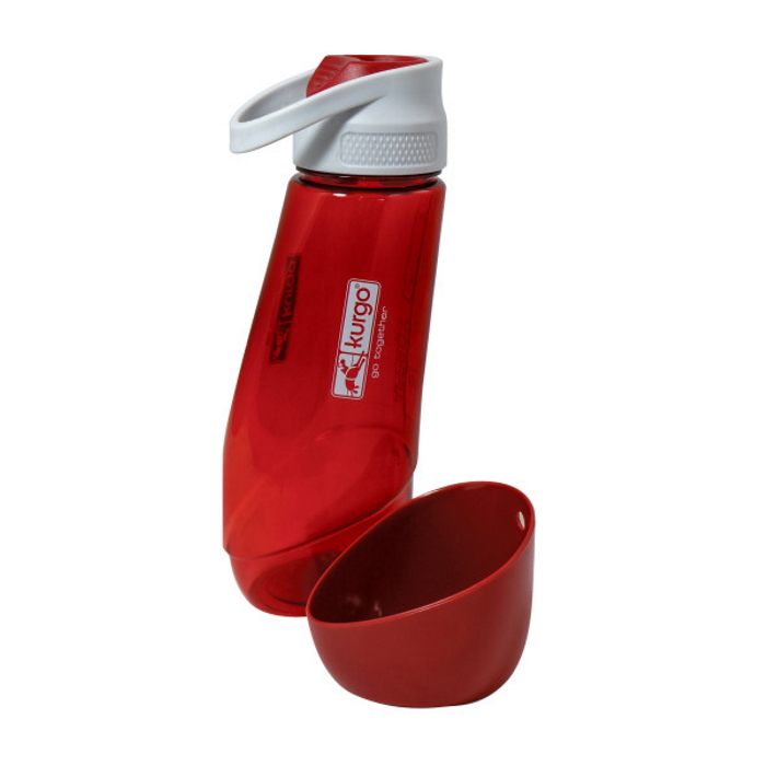 Kurgo Gourd Travel Dog Water Bottle and Bowl_Barn Red